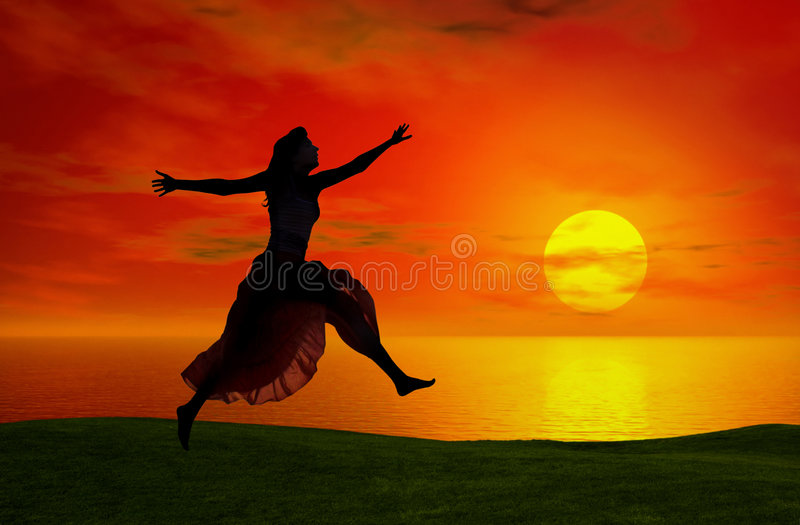 скача заход солнца стоковые изображения