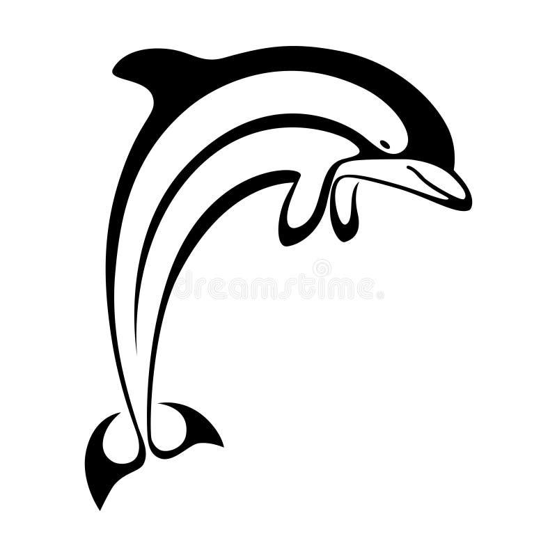 Скача знак дельфина иллюстрация штока