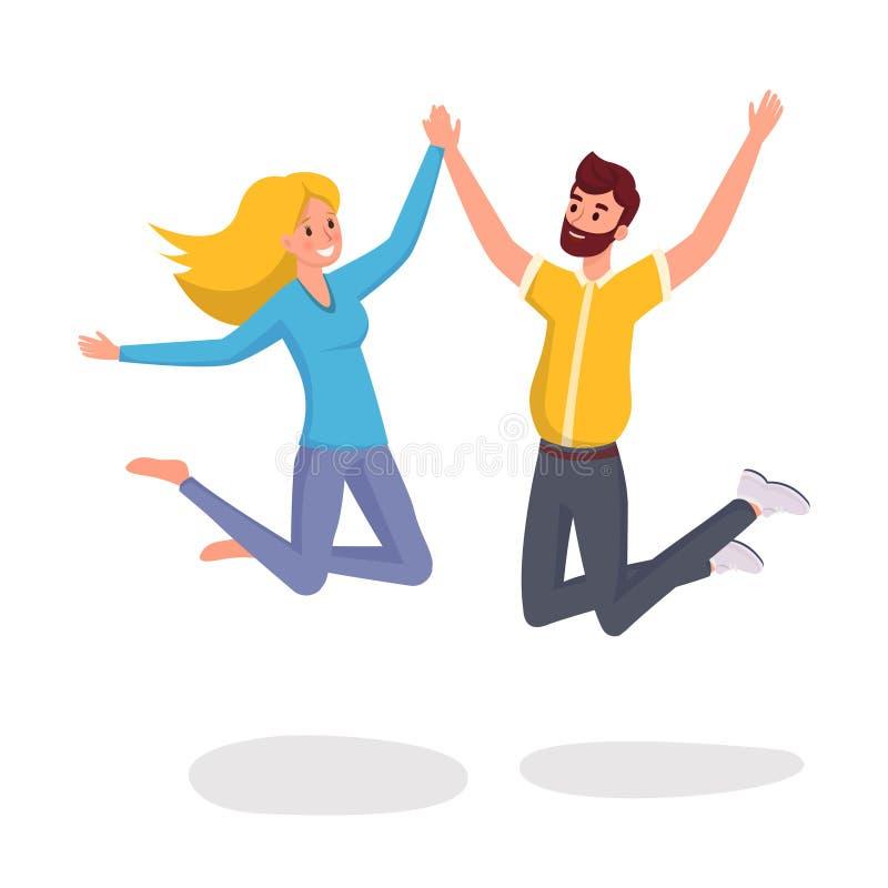 Скача иллюстрация вектора друзей плоская Счастливый и смешной супруг и жена, студенты в мультфильме случайных одежд иллюстрация штока