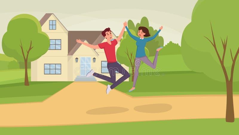 Скача иллюстрация вектора людей плоская Возбужденные супруг и жена, человек и женщина, персонажи из мультфильма друзей имея потех бесплатная иллюстрация