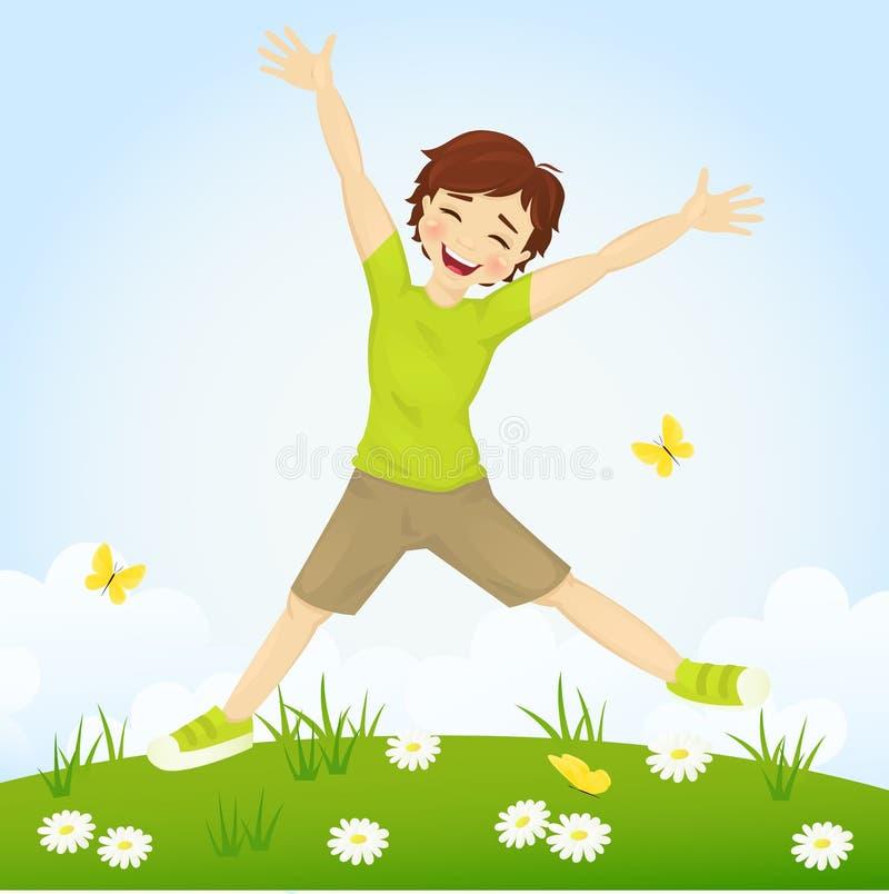 Скача мальчик иллюстрация штока