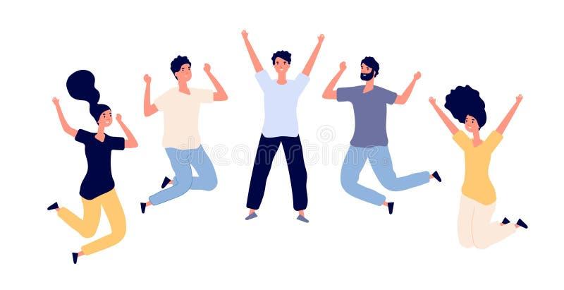Скача молодые счастливые люди Подростки человека и женщины празднуя скачку, людей летания в воздухе Плоские характеры вектора иллюстрация вектора
