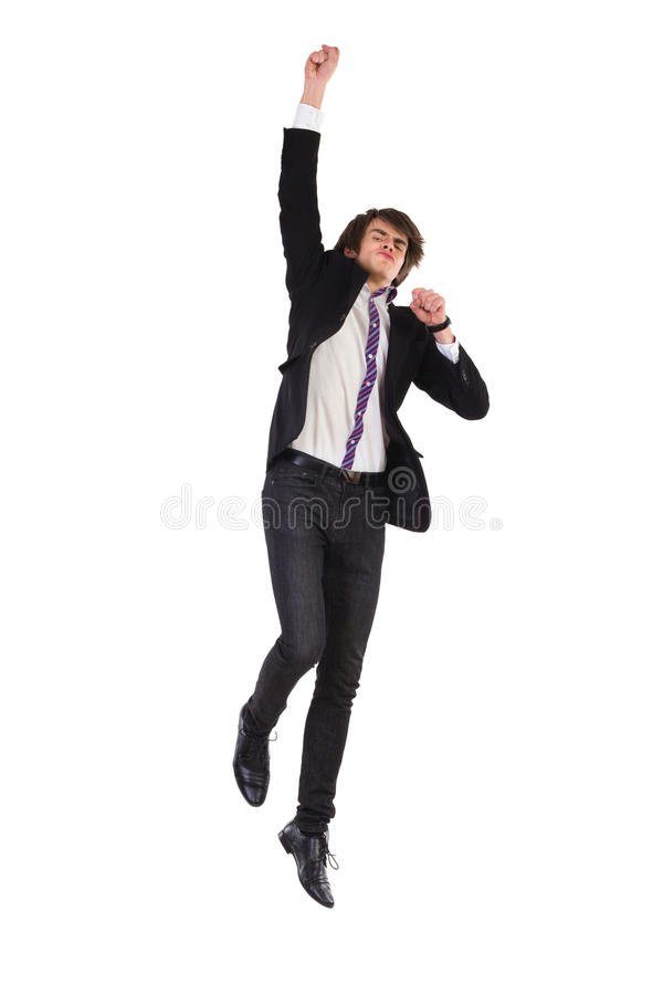 Скача человек в костюме стоковое фото rf