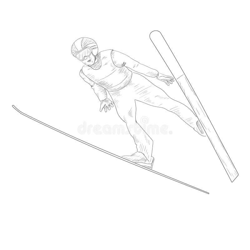 скача лыжа иллюстрация вектора
