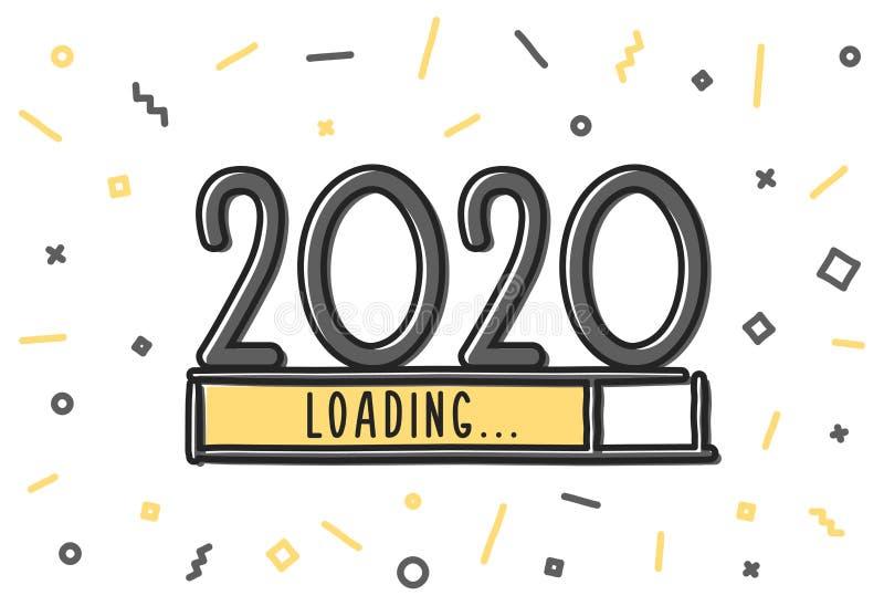 Скачивание Doodle нового года Желтый индикатор прогресса почти достиг канун нового года Векторная иллюстрация с загрузкой и иллюстрация штока