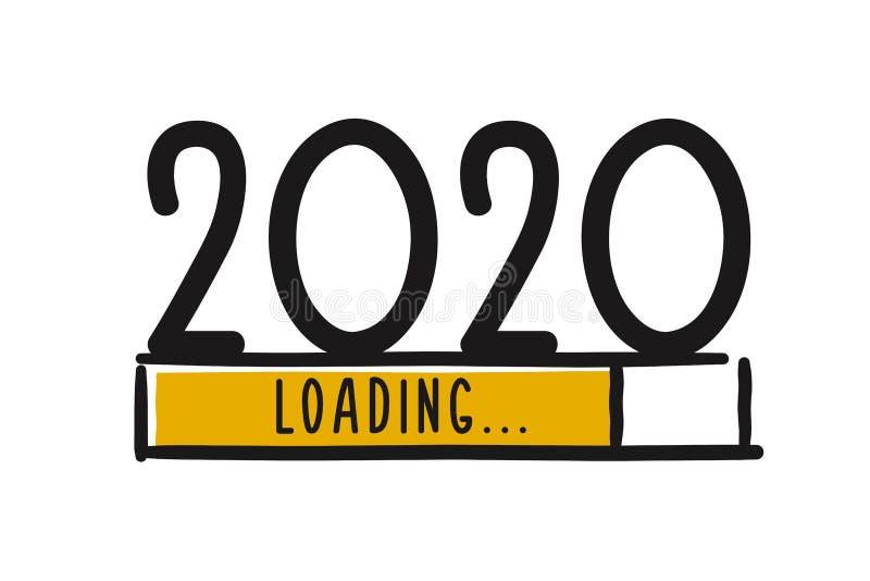 Скачивание Doodle нового года Индикатор прогресса почти достиг канун нового года Иллюстрация вектора с загрузкой в 2020 году иллюстрация вектора