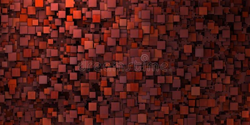 скачками grungy мозаики 3d стены красный цвет внутри глубоко - стоковая фотография