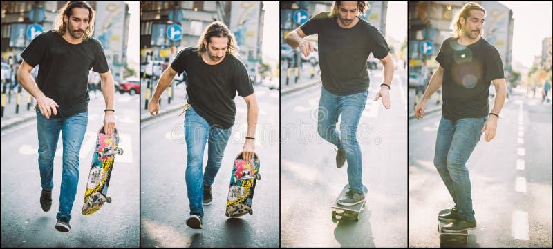 Скачка skateboarding улицы и последовательность фокуса Школа s бесплатного проезда стоковая фотография rf