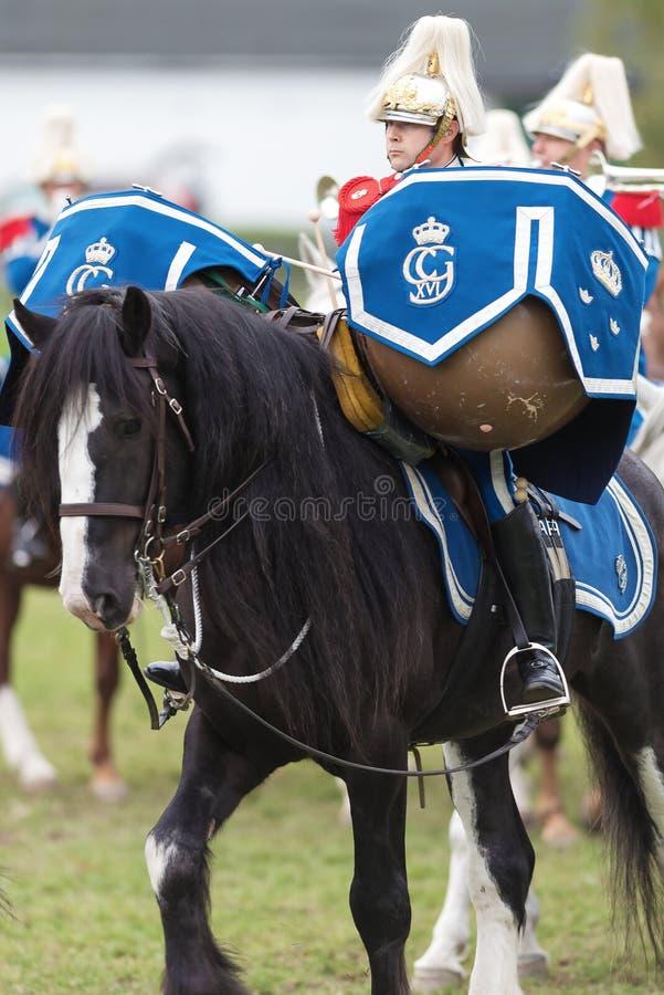 Скалистая вершина лошадь барабанчика с всадником на случае конной охраны стоковая фотография