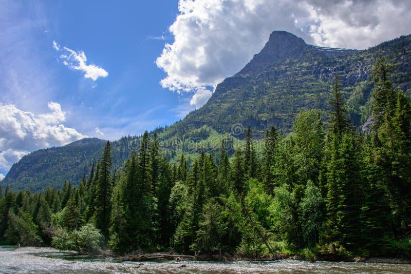 Скалистая гора в национальном парке ледника, Монтане США стоковое фото rf