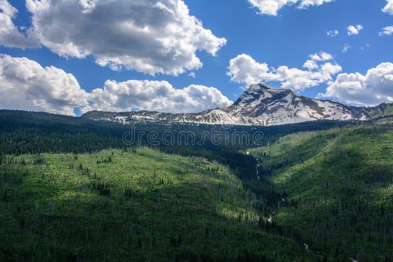 Скалистая гора в национальном парке ледника, Монтане США стоковые фотографии rf