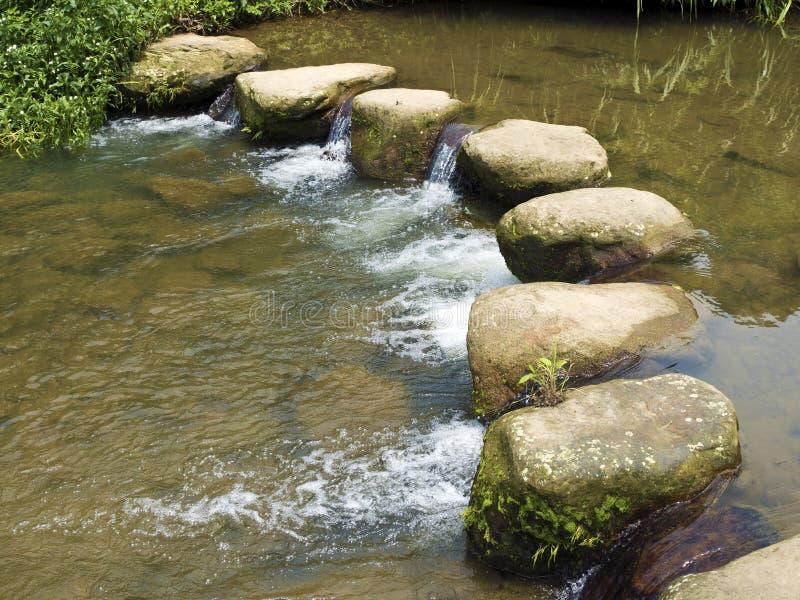 Скалистые стартовые площадки через реку стоковые фото