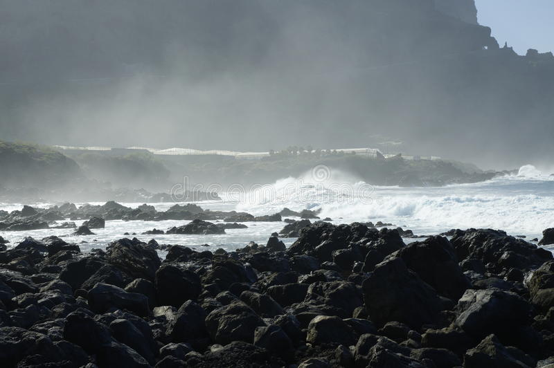 Скалистый пляж Costadel Buena Vista, Тенерифе, канерейка, Испания стоковое фото rf