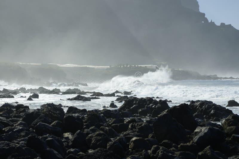 Скалистый пляж Costadel Buena Vista, Тенерифе, канерейка, Испания стоковое фото