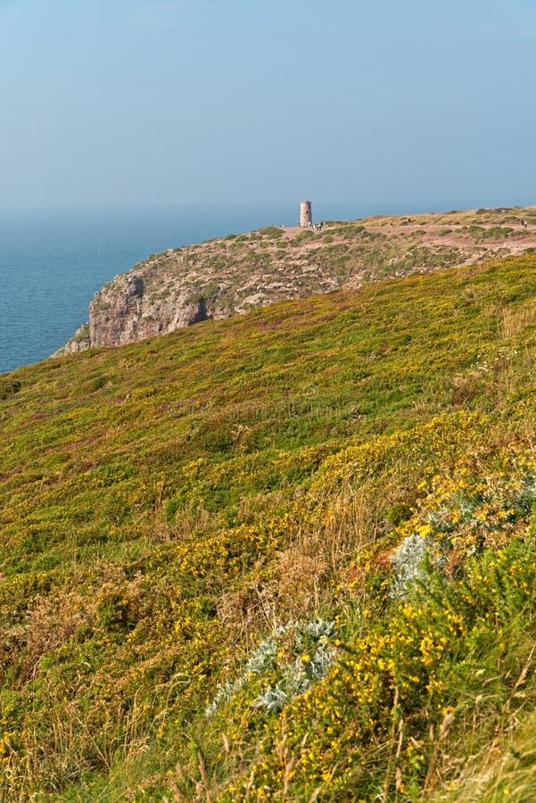 Скалы с цветками и старая башня на накидке Frehel brittani стоковая фотография rf
