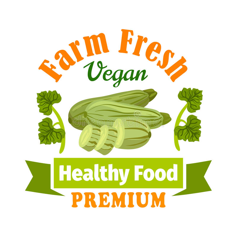 Сквош цукини фермы свежий Здоровый значок еды иллюстрация вектора