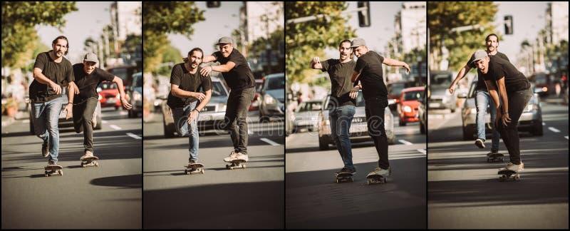 2 скейтбордиста друзей ехать последовательность конька Конек бесплатного проезда стоковое фото rf