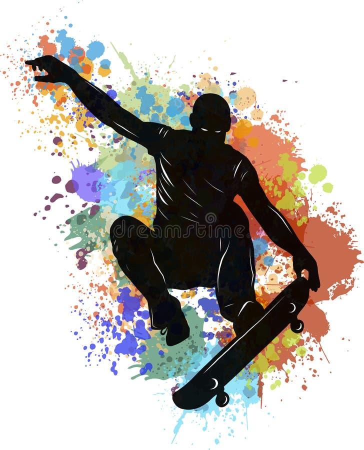Скейтбордист делая скача фокус, низкую поли иллюстрацию вектора с пятном иллюстрация вектора