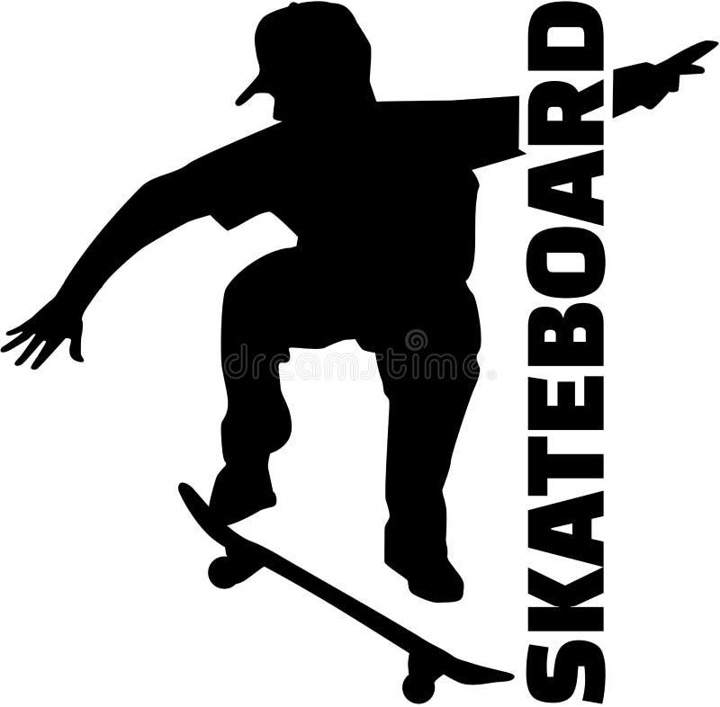 Скейтбордист с названием иллюстрация вектора