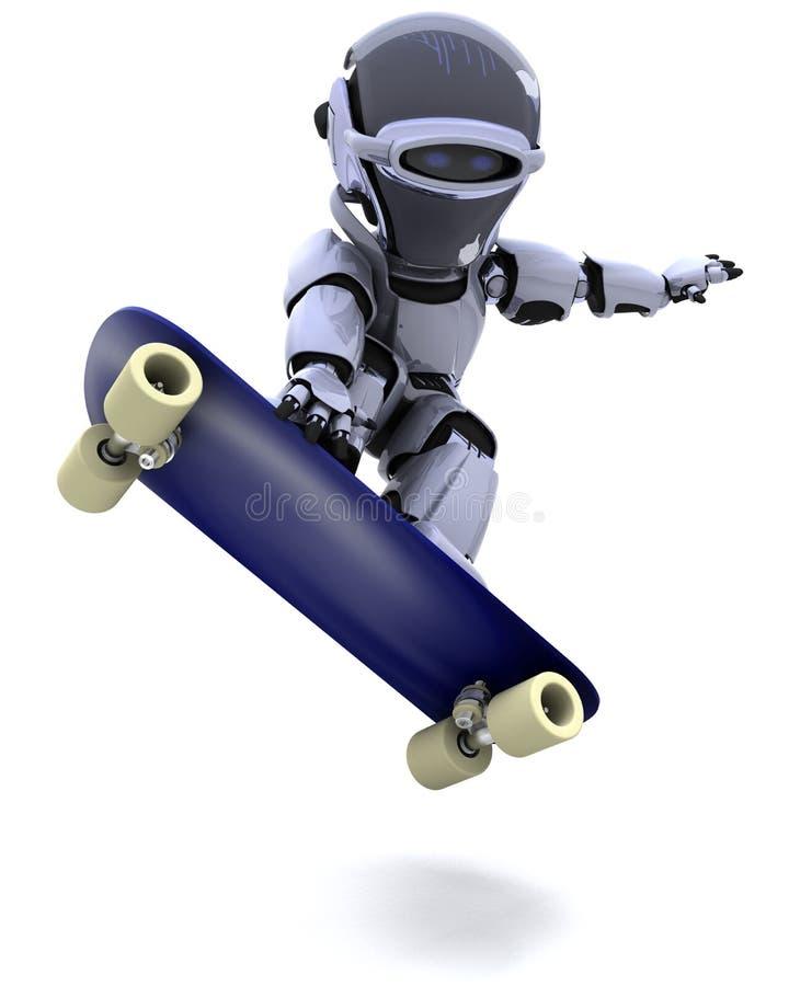 скейтборд робота иллюстрация вектора