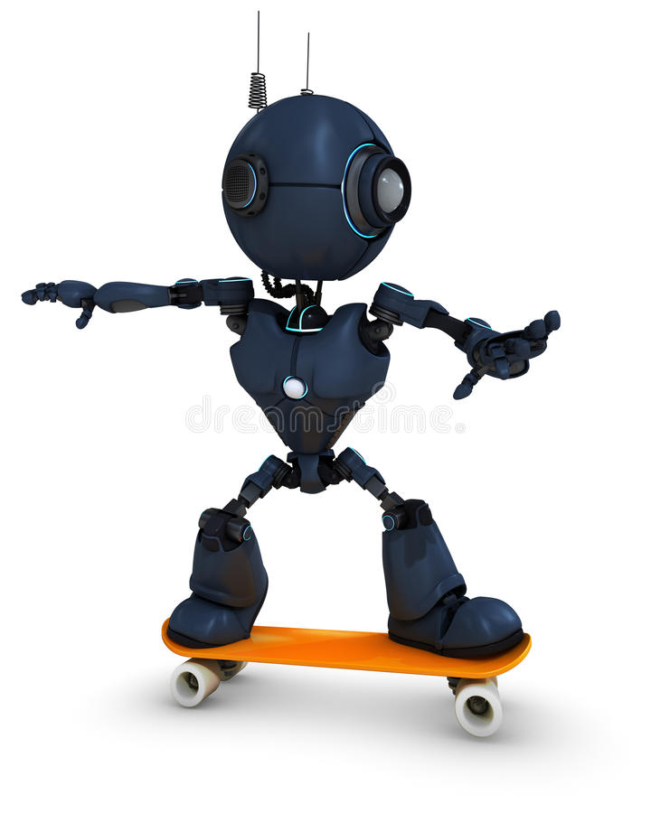 Скейтбордист андроида иллюстрация штока