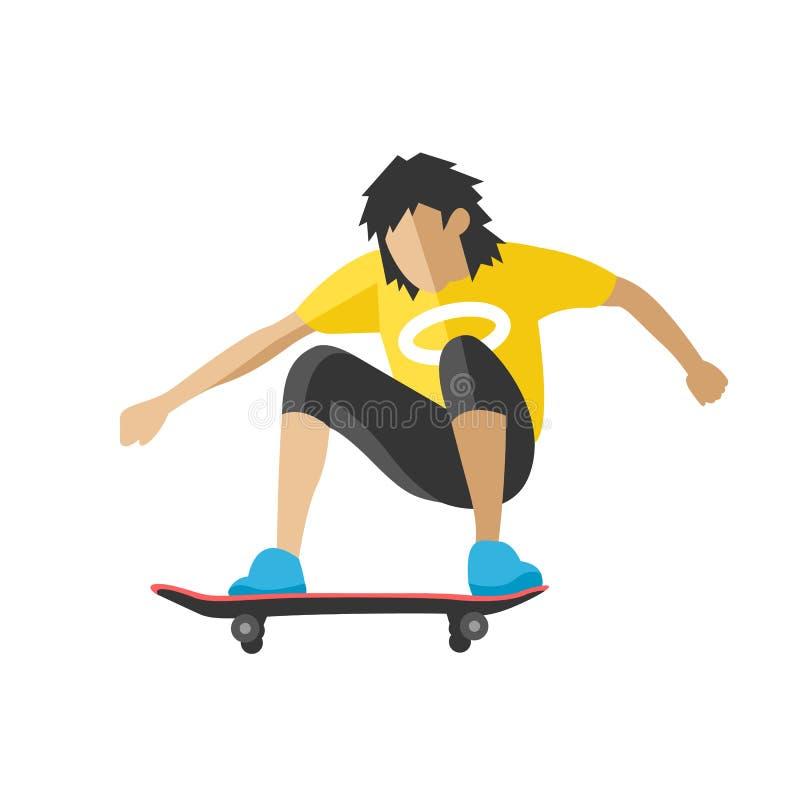 Скейтбордист скачет делающ характера спорта парка конька фокуса skateboarding скейтборда иллюстрации вектора весьма городского пл бесплатная иллюстрация