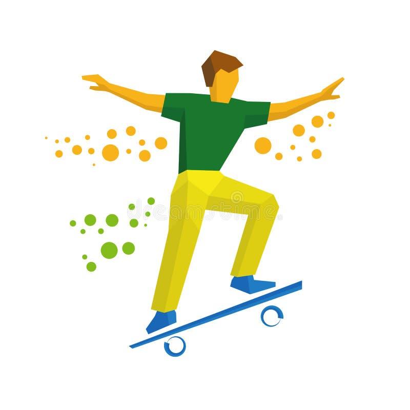 Скейтбордист скачет на скейтборд Конькобежец делая фокусы иллюстрация вектора