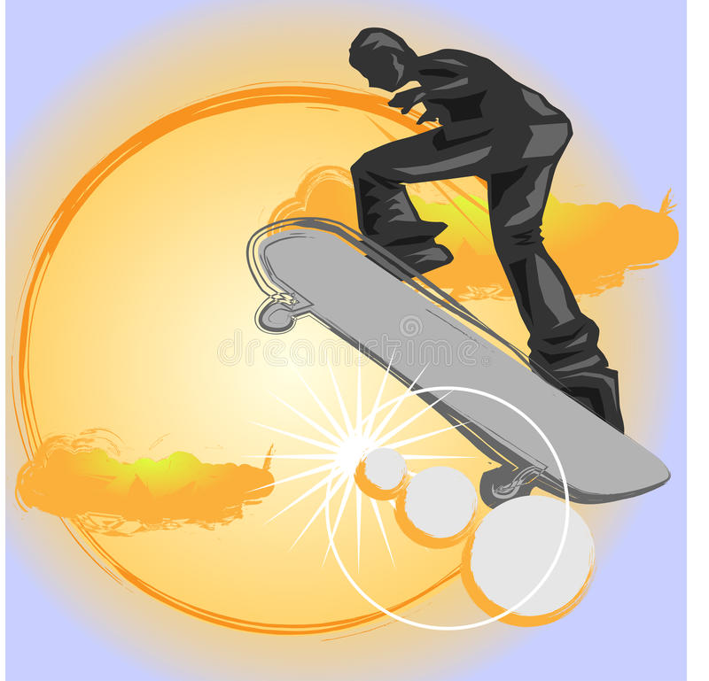 Скейтбордист скачет иллюстрация штока