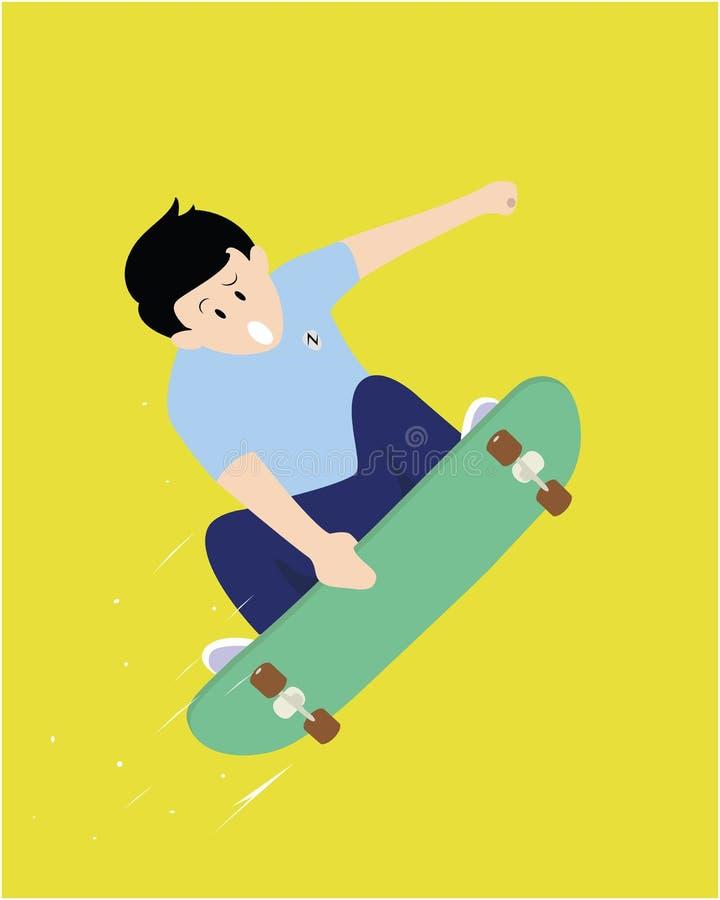 Скейтбордист скачет бесплатная иллюстрация