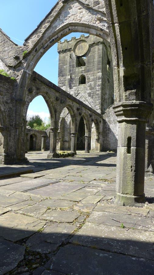 Скелетная структура и своды церков Northgate Heptonstall методист, Heptonstall, моста Hebden стоковая фотография rf