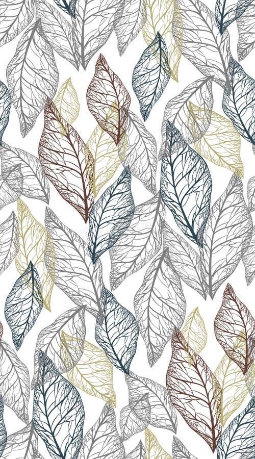 Скелеты листьев различных светлых цветов на темноте - серой предпосылке, безшовной картине вектора иллюстрация вектора