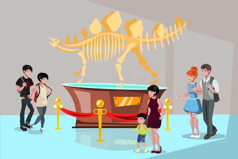 Скелет динозавра тиранозавра людей группы наблюдая иллюстрация вектора