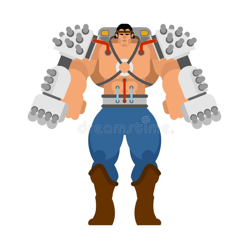 Скелет механической технологии экзоскелета робототехнический Робот костюма утюга Металлический киборг одежды также вектор иллюстр иллюстрация вектора
