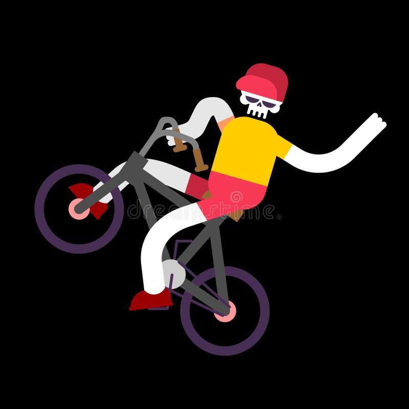 Скелет на велосипеде Череп и BMX Скелеты мальчика свертывая велосипед бесплатная иллюстрация