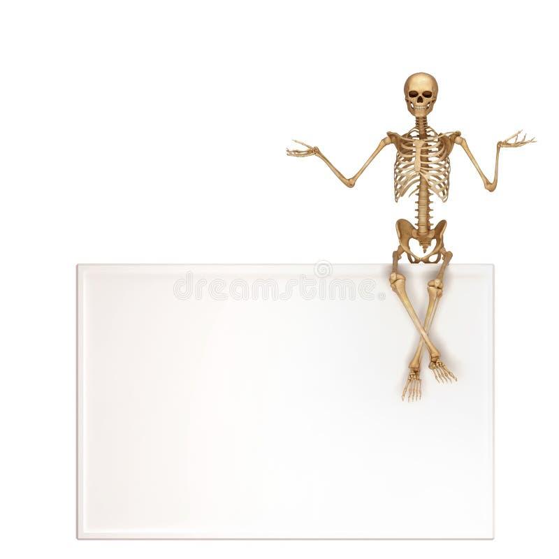 Скелет сидит на знаке иллюстрация вектора