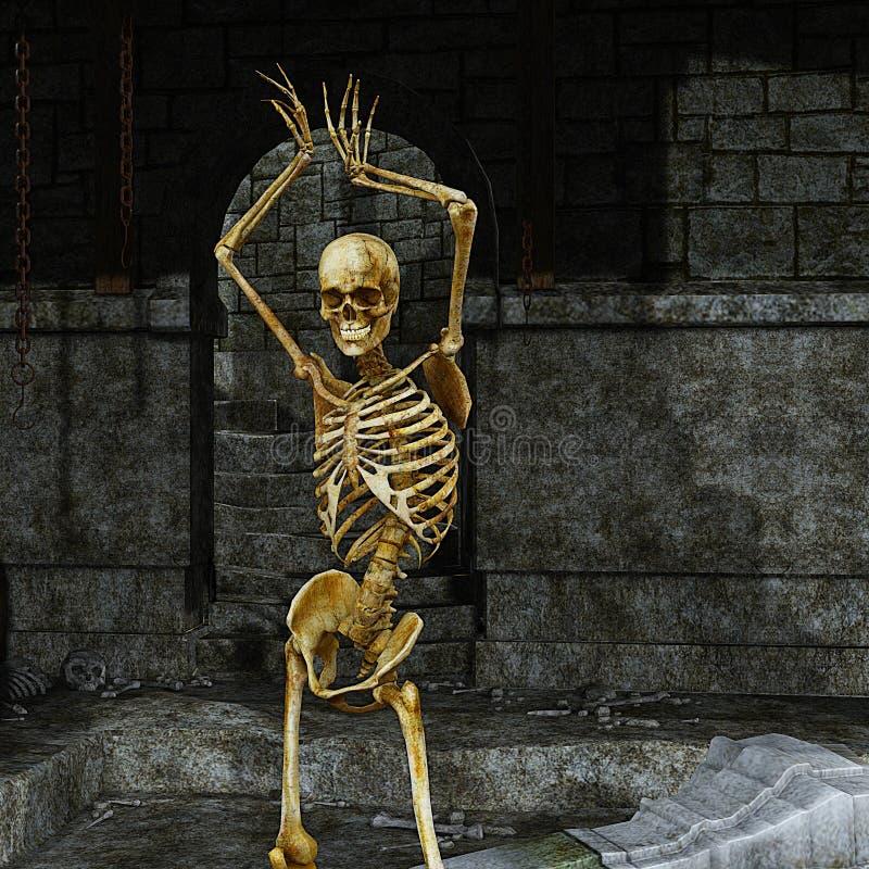 скелет dungeon иллюстрация вектора
