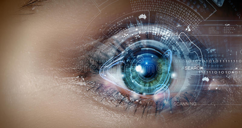 Скеннирование глаза стоковая фотография