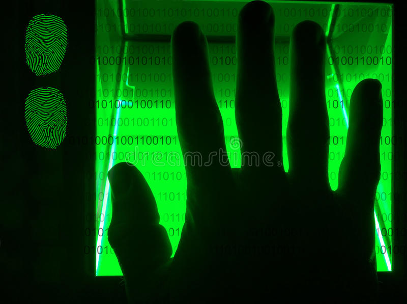 скеннирование отпечатка пальцев cybersecurity цифровая стоковое изображение rf