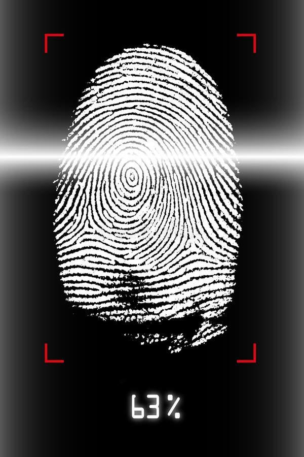 скеннирование фингерпринта стоковое изображение