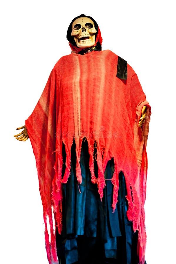 Скелет человека в красном платье на хеллоуин стоковая фотография