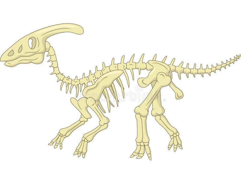 Скелет Parasaurolophus шаржа иллюстрация вектора
