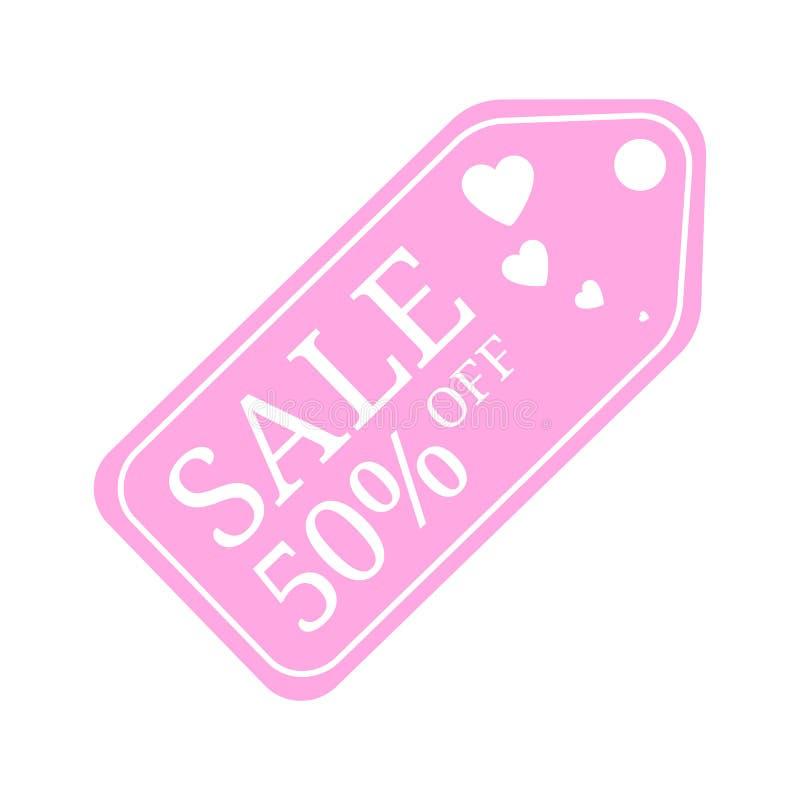 Скидка бирки продажи особенного предложения на день Святого Валентина 50% Со знамени скидки продажи Специальные знаки цены предло бесплатная иллюстрация