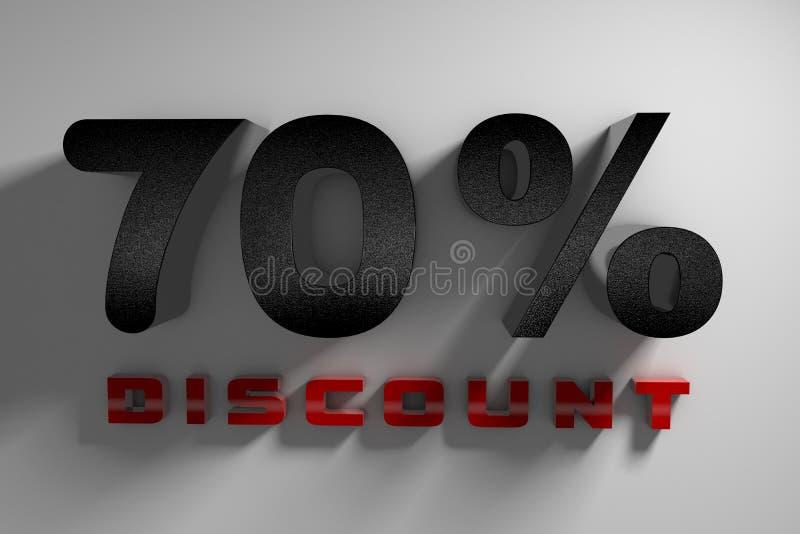 скидка надписи 70% перевода 3D на белой предпосылке бесплатная иллюстрация