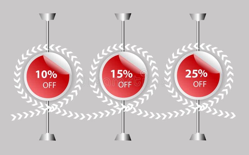 скидка 10% 15% 25% на цене магазина, бирке скидки, продажах красной этикетки цены предложения, illus знамени изображения стикера  иллюстрация вектора