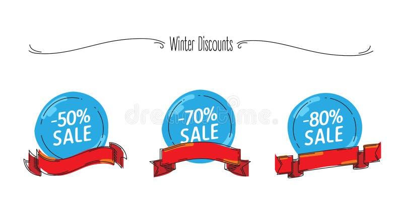Скидки продажи зимы установили с графическими элементами, ребяческими графиками с неровными границами, шариками снега с лентами иллюстрация штока
