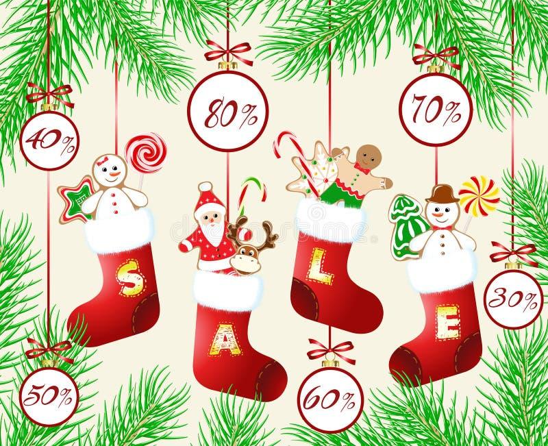 Скидки ` s рождества и Нового Года иллюстрация штока