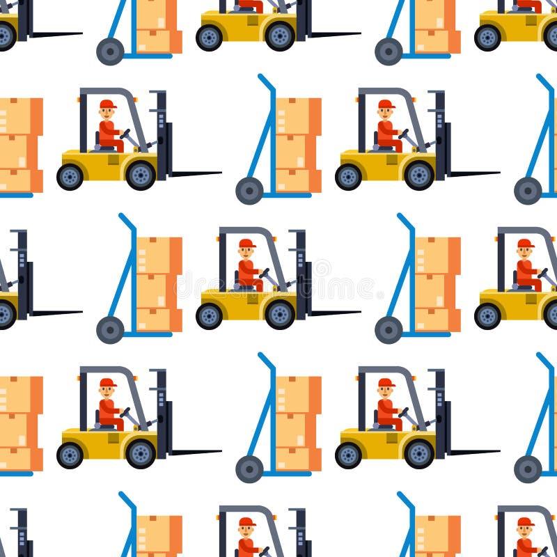 Складируйте безшовная предпосылка картины с тележкой доставки и вектором индустрии дела хранения элементов поставки плоским иллюстрация вектора