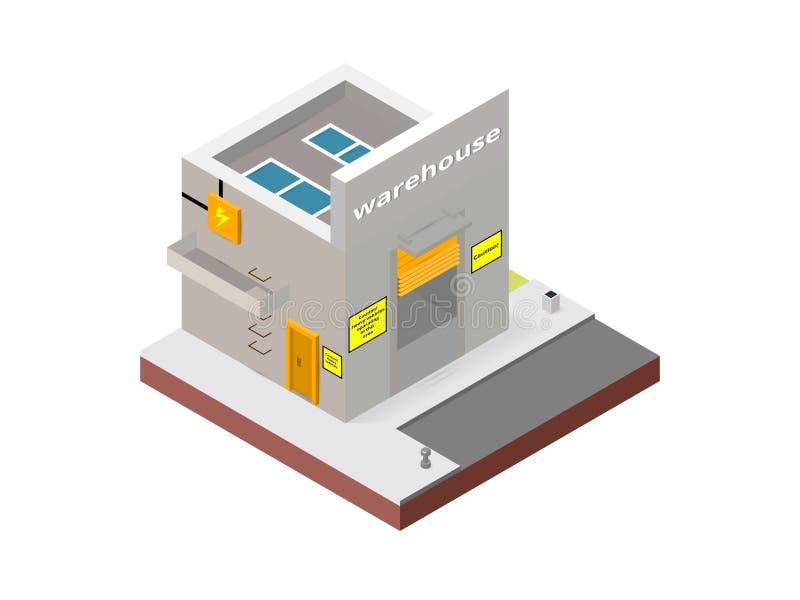Складируйте здание в дизайнерах равновеликой проекции необходимых творческих для проектов сети Равновеликое здание склада иллюстрация вектора