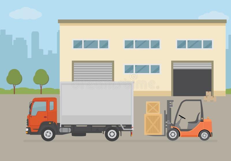 Складируйте здание, тележка и платформа грузоподъемника на предпосылке города Складируйте оборудование, поставка груза, обслужива иллюстрация штока