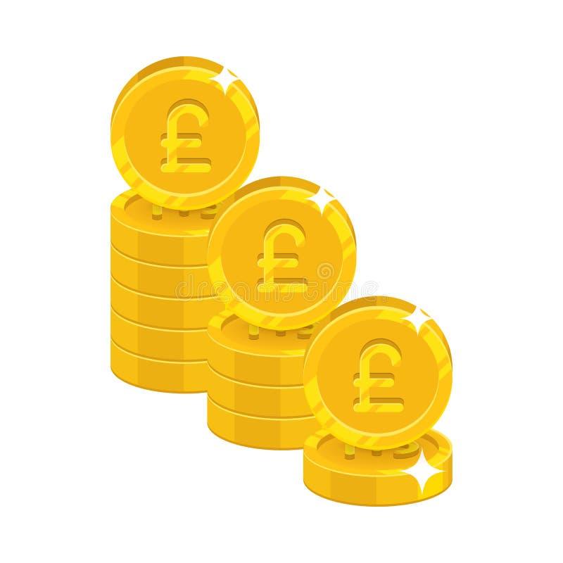 Складывает значок шаржа золота изолированный фунтами иллюстрация штока